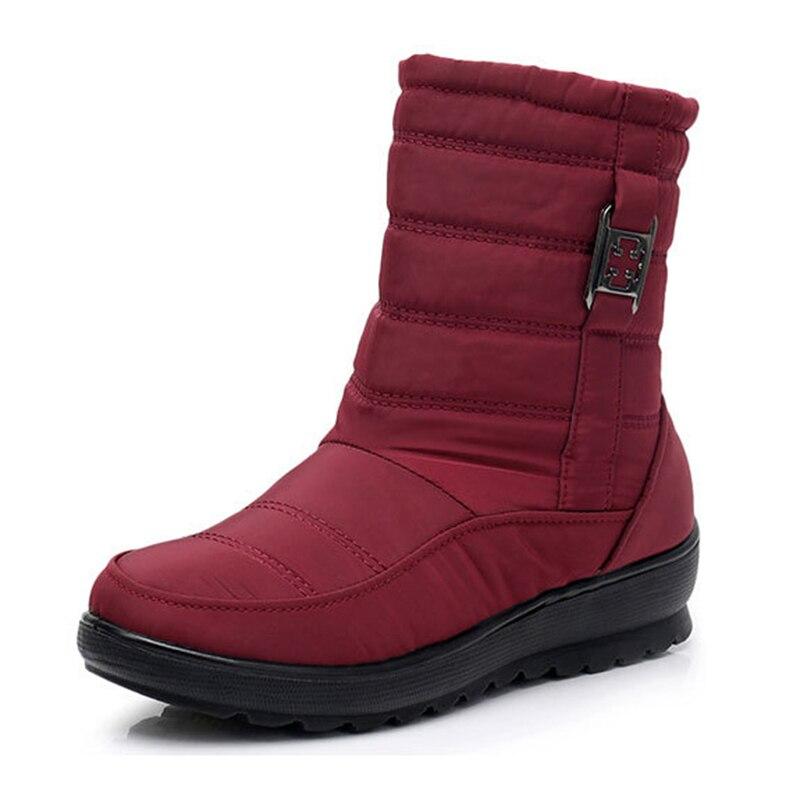 Qualité rouge Nouveau Bottes Marque Neige De Noir marron Style Bota D'hiver Haute Mode 2018 Feminina Femmes Chaussures 0PwnOk8
