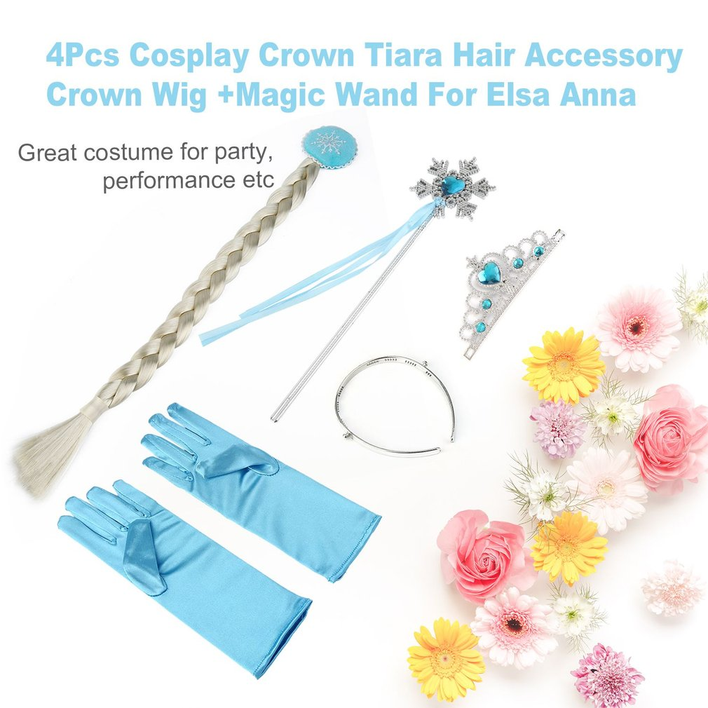 4Pcs/Set Elsa Anna Princess Crown Magic Wand Braid Gloves Magic Wand + Rhinestone Hair Crown+Glove Set For Girl Christmas Gifts стоимость
