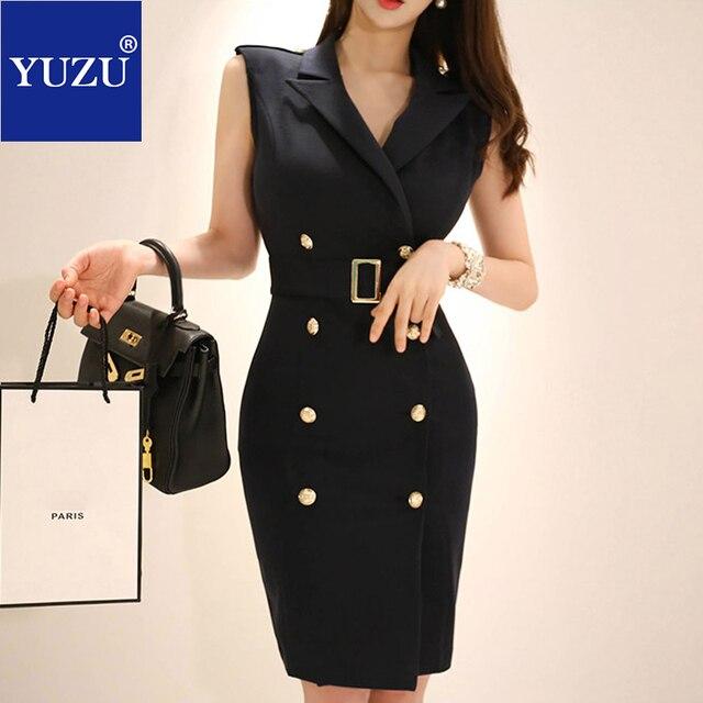 8937b8d128fcda6 Офисная одежда для женщин черный блейзер Платье Лето v-образный вырез с  поясом корсаж двубортный