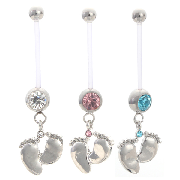 Pregnancy Women Jewelry Flexible Fashion Baby Feet Navel ...