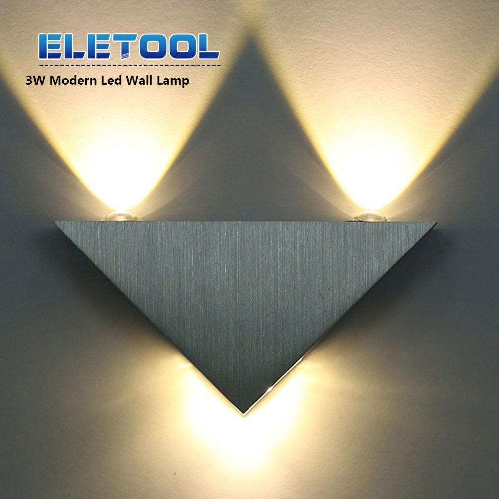 Modern Led Wall Lamp 3W Aluminum Body Triangle Wall Light For Bedroom Home Lighting Luminaire Bathroom Light Fixture F30 in LED Indoor Wall Lamps from Lights Lighting