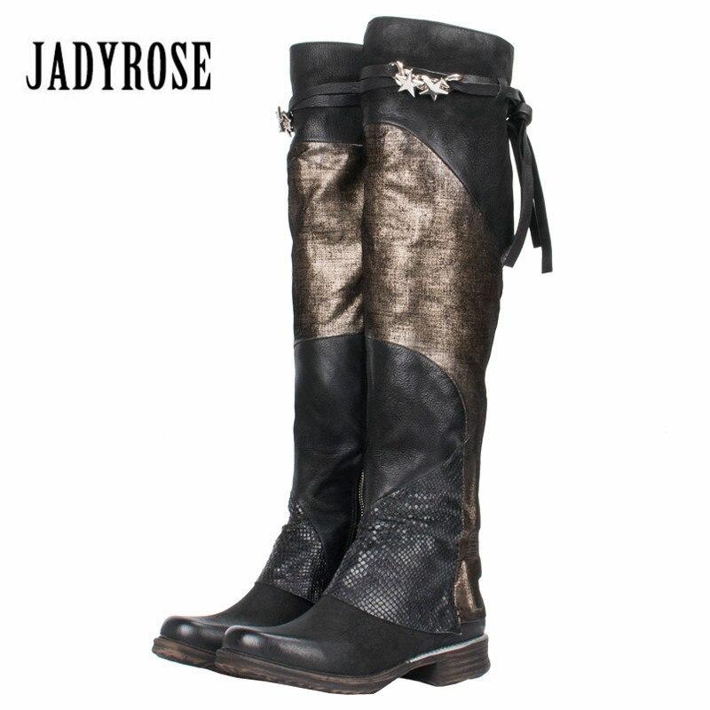 Jady Rosa 2019 Retro de las mujeres por encima de la rodilla botas Color mezclado plana botas Otoño Invierno mujer de alta del muslo botas zapatos de goma