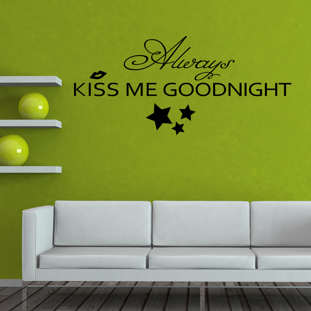 Always Kiss Me Goodnight - Bedroom Romantic Wall Decal Vinyl Art Wall Sticker Love Quote Home decor 10 x22