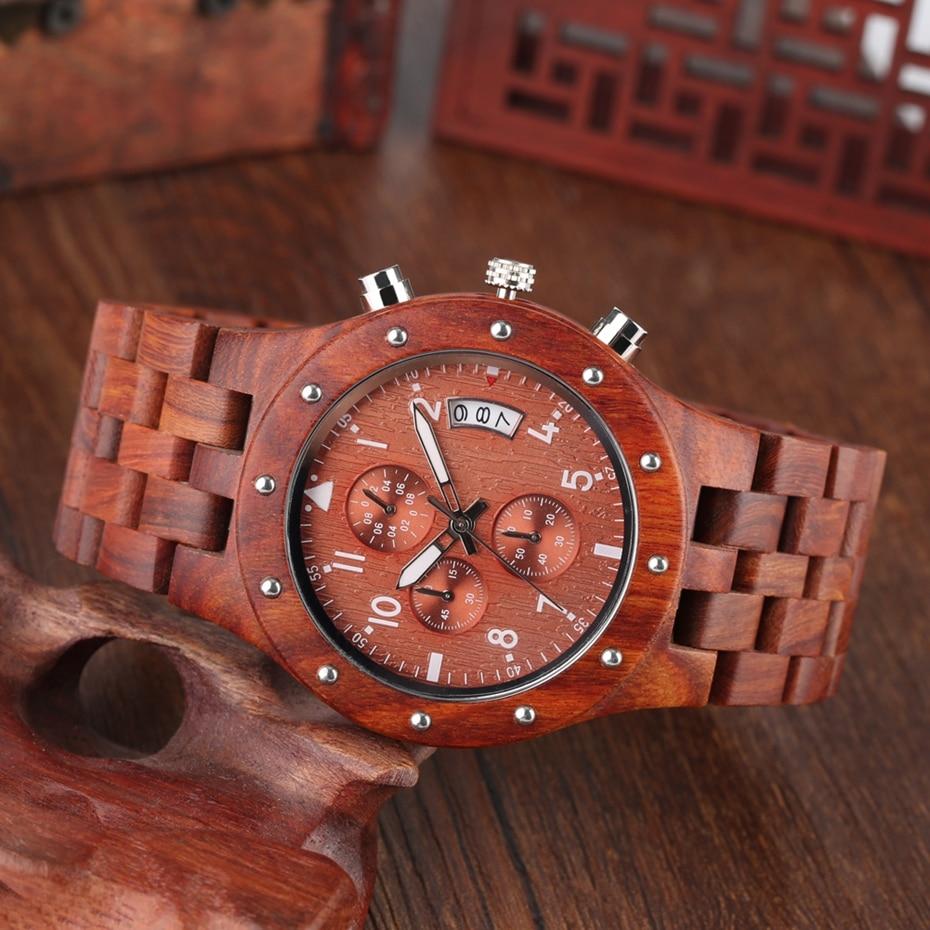Wooden Watch Men erkek kol saati Top Luxury Stylish Redwood Timepieces Chronograph Military Date Calendar Quartz Watches for Men 2019 2020 2021 2022 (21)