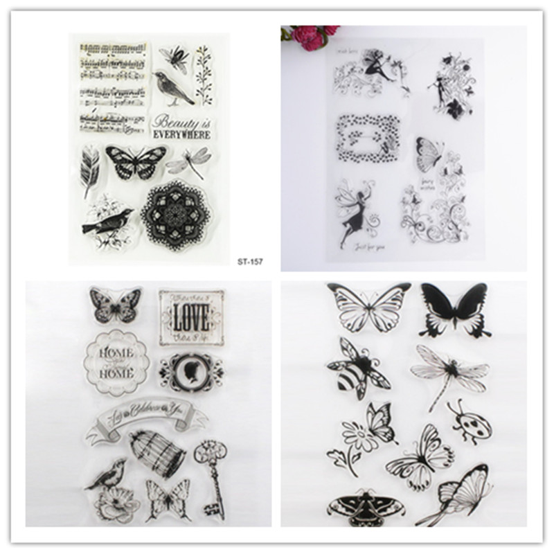 New Transparent Clear Silicone Stamp Seal For DIY Scrapbooking Photo Album Decorative Rubber Stamps Sheets 8 Styles lovely bear and star design clear transparent stamp rubber stamp for diy scrapbooking paper card photo album decor rm 037