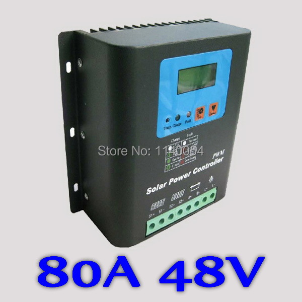 80A Solar Charge Controller PV panel Battery Charge Regulator 48V Solar system Home indoor use  PV Dual Input,LCD Display