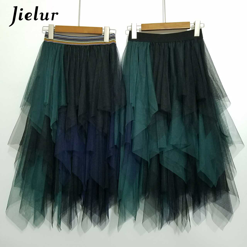 7d57f1a01ed25 Women irregular Tulle Skirts Fashion Elastic High Waist Mesh Tutu ...