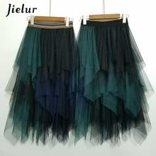 Jielur Tulle Skirt Spell Color Elastic High Waist Women Dance Tutu Skirts Chiffon Irregular Lolita Petticoat Midi Rokken Voile