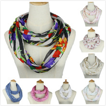 Women ring scarf Floral rose Flower Printed Snood Ring Scarves Ladies Twill Viscose Infinity loop Scarfs Autumn spring summer