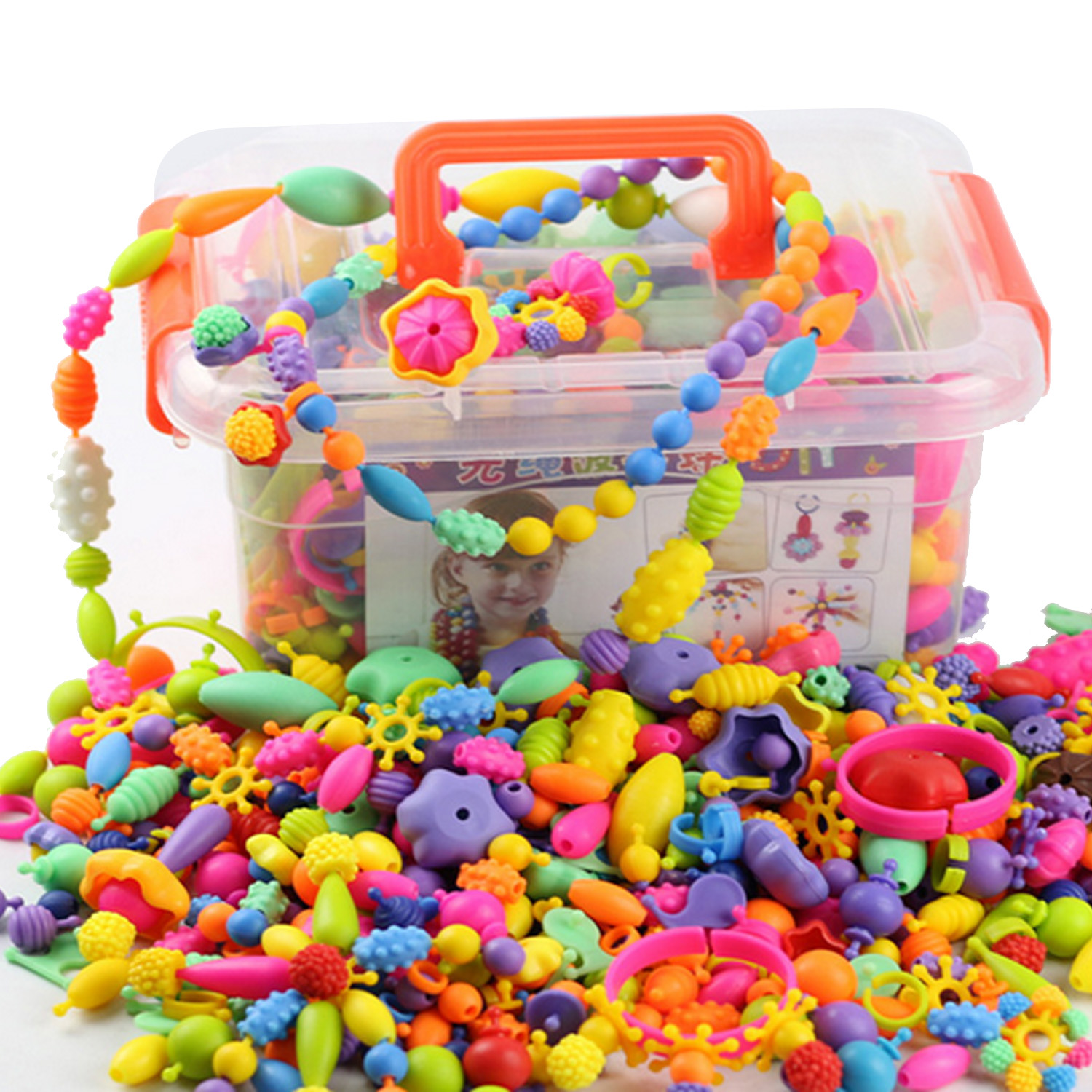 Besegad 485PCS String Beads Set Assorted Shapes Pop Snap Beads Creative DIY Beads Toy For Kid Girls Jewelry Making Birthday Gift