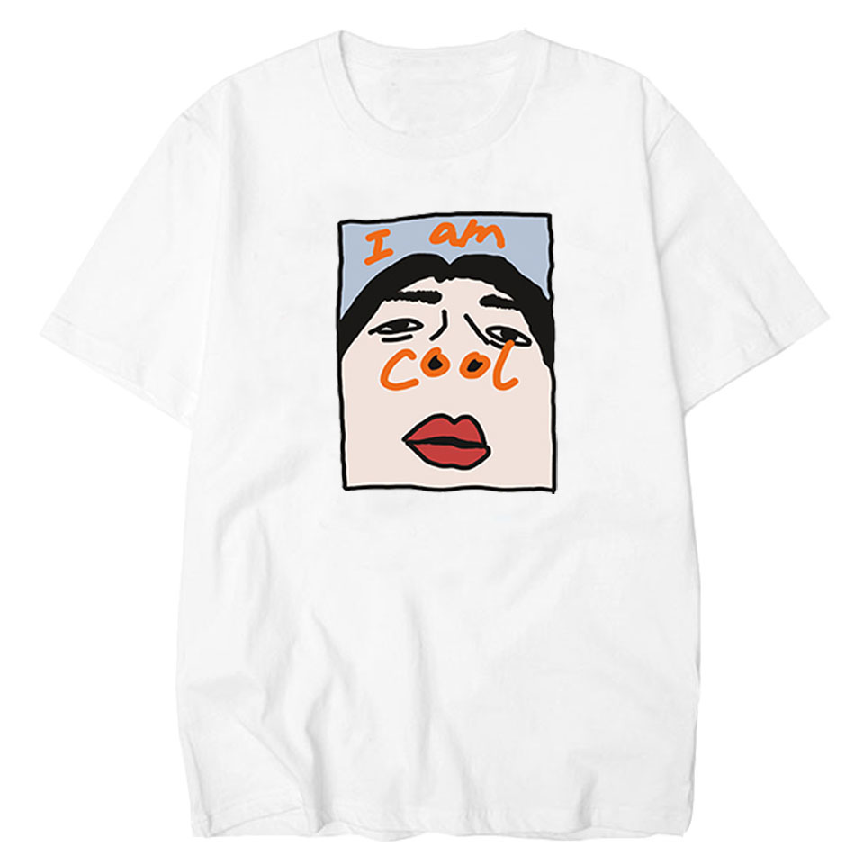 LettBao I Am Cool t-shirt drôle t-shirt confortable Homme hauts coton Ulzzang hommes col t-shirt Harajuku coréen hommes T-Shirts