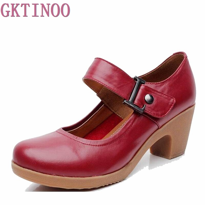 2018 Spring Autumn Shoes Woman 100% Genuine Leather Women Pumps Lady Leather Round Toe Platform Shallow Mouth Shoes Size 32-42