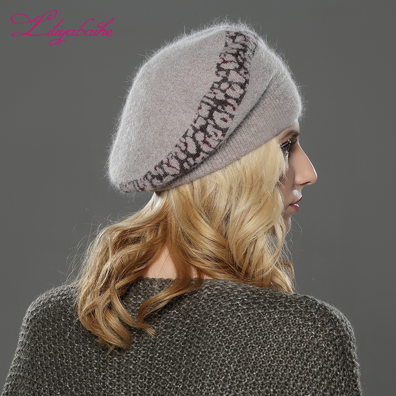 Image 4 - LILIYABAIHE  NEW Style Women winter beret hat knitted wool angora beret  Sttriped Beautifully  decoration cap Double warm hat-in Women's Berets from Apparel Accessories
