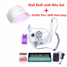 35000RPM Nail Drill Machine with SUN9c Plus 36W UV LED Nail Lamp with 30pcs Nail Drill Bits Set Acrylic Gel Nail Art Tool Kit(China)