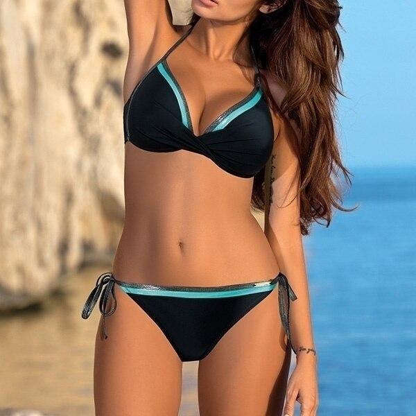 Womens Push Up Two Piece Bikini Swimsuits Sexy 2019 Summer Hot Bathing Suit Triangle Side Knot Thong Swimwear Padded Adjustable