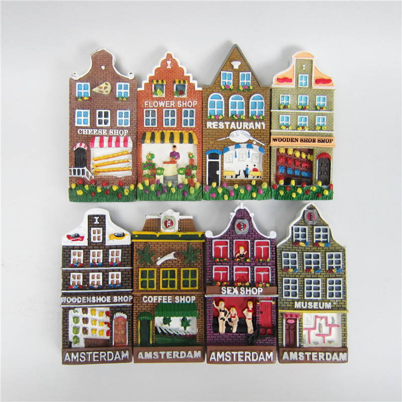 US $4 79 20% OFF|Netherlands Tourist Souvenirs Fridge Magnets Amsterdam  Sexy Shop Restaurant Colorful House Refrigerator Magnetic Stickers-in  Fridge