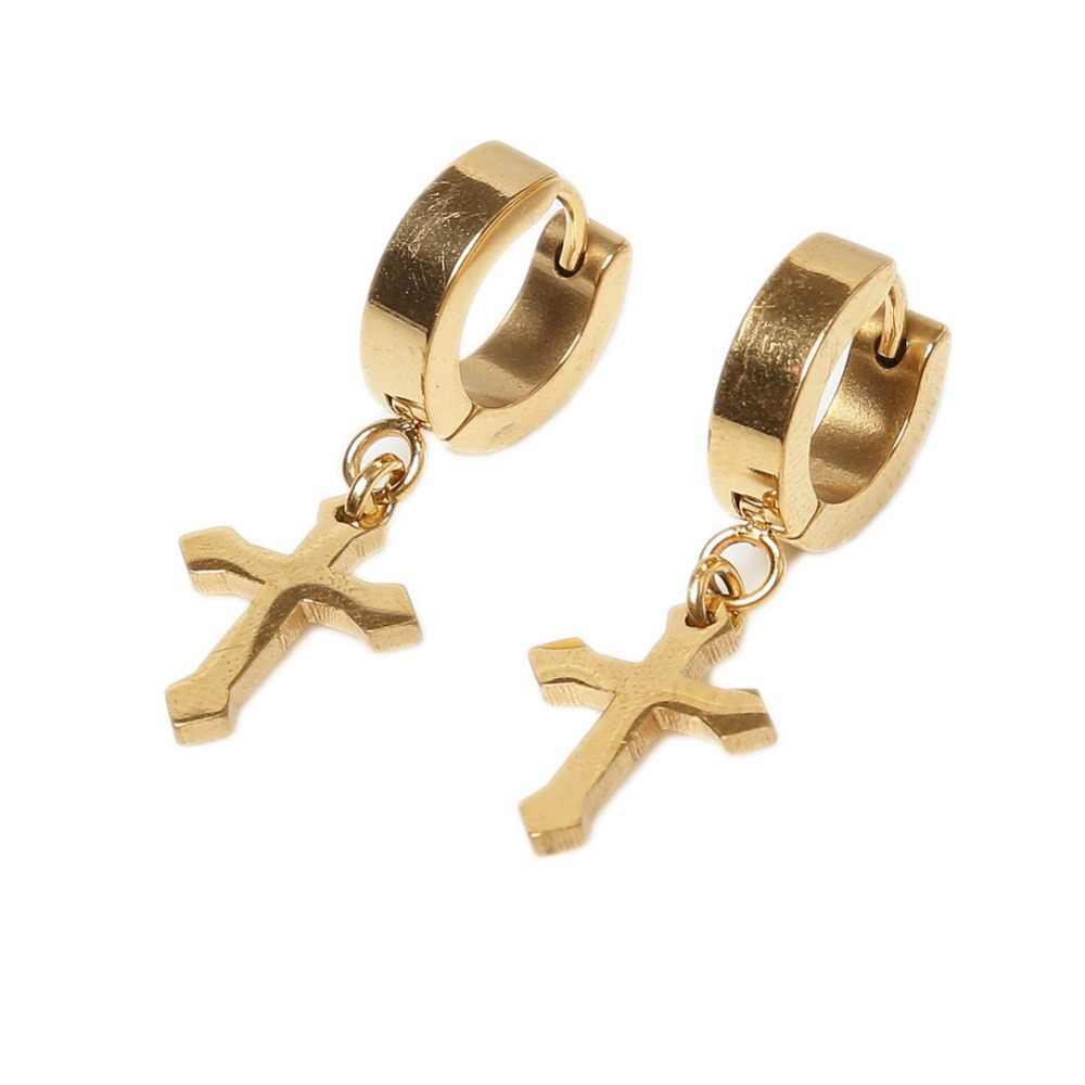 1 sztuka moda 4*9mm w kształcie krzyża ucha stadniny kolczyki tytanu stali nierdzewnej ucha klip ucha akcesoria Ear- 0685