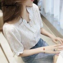 Dingaozlz 2019 Summer White Chiffon shirt New V-neck Lace Blouse Short Sleeve Women clothing Elegant Female Tops