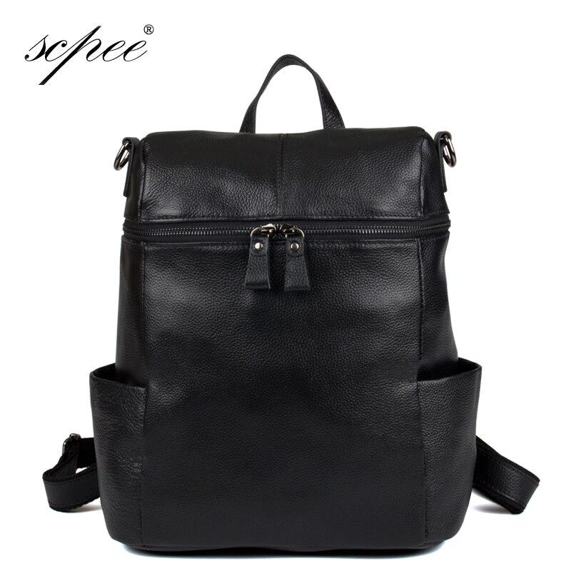 SCPEE Waterproof leather font b laptop b font bag travel font b backpack b font