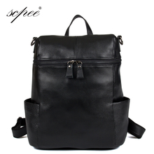SCPEE Waterproof leather laptop bag travel backpack