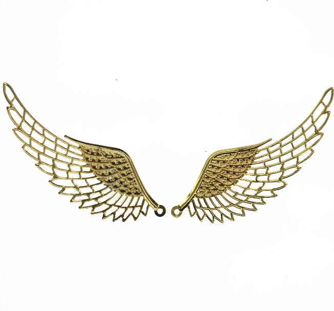 110mm antique bronze wings metal pendant - filigree stamping base for jewelry making image
