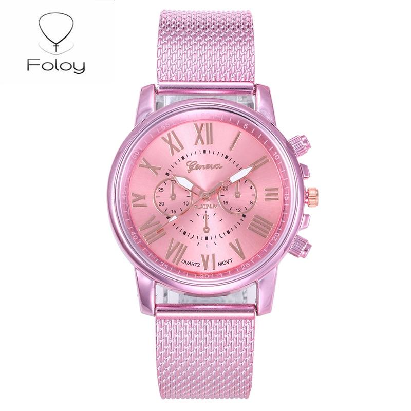 Foloy Digital Women Watches Quality Fashion Geneva Roman Numerals Faux Leather Analog Quartz Ladies Watch Bracelet Clock Gift