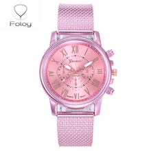 Foloy digital women watches Quality Fashion Geneva Roman Numerals Faux Leather Analog Quartz Ladies watch Bracelet Clock Gift quartz watch clock woman high quality cute cat printed women s watches faux leather analog ladies girl gift casual sport watches