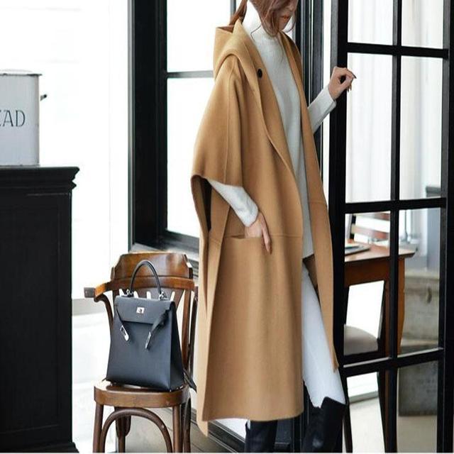 Mujeres clothing 2016 xl-5xl primavera otoño abrigo de invierno capa femenina nueva loose tops media manga de lana de lana y mezclas
