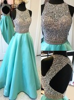 Sexy Open Back Turquoise Crop Top Prom Dresses 2018 Long Heavily Beaded Bodice Girls Sparkly Satin Evening Gowns Fast Shipping