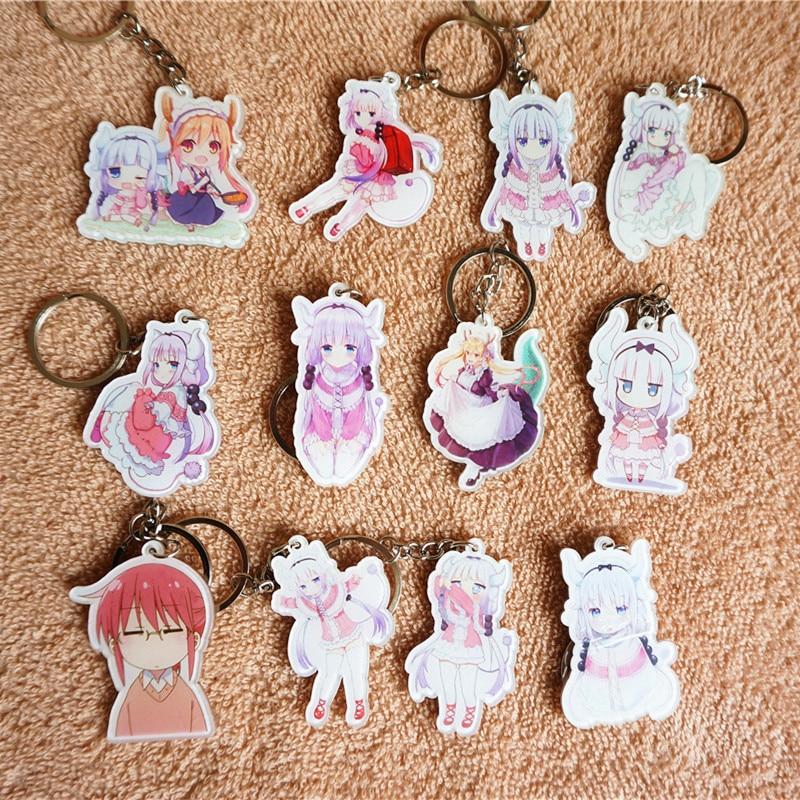 12PCS SET font b Anime b font Keychain font b Anime b font Miss Kobayashi s