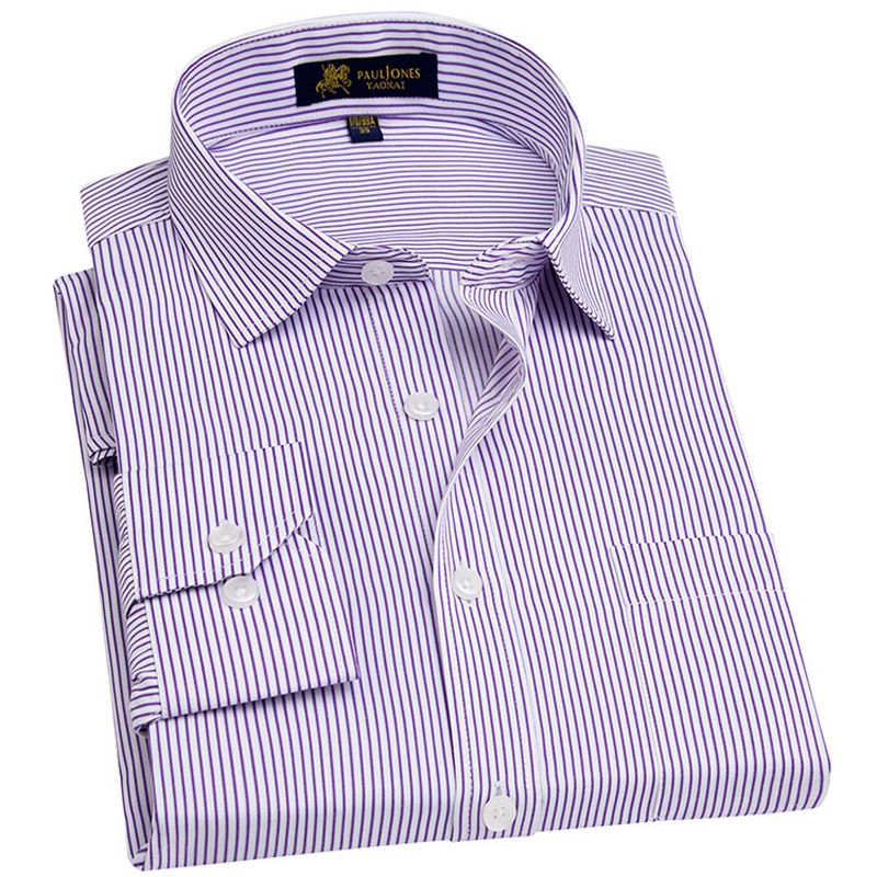Men's Long Sleeve Regular-fit Dress Shirt with Chest Pocket Plus Size Pinstriped/twill/Broadcloth Male Tops Formal Work Shirts