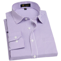 Men S Long Sleeve Regular Fit Dress Shirt With Chest Pocket Plus Size Pinstriped Twill Broadcloth