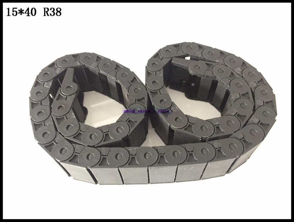 1pcs 15x40mm R38 Cable Drag Chain Wire Carrier with End Connector 15mm x 40mm L1000mm 40 for 3D CNC Router Machine Brand New 15mm x 40mm r28 plastic cable drag chain wire carrier with end connector length 1m for 3d printer cnc router machine tools