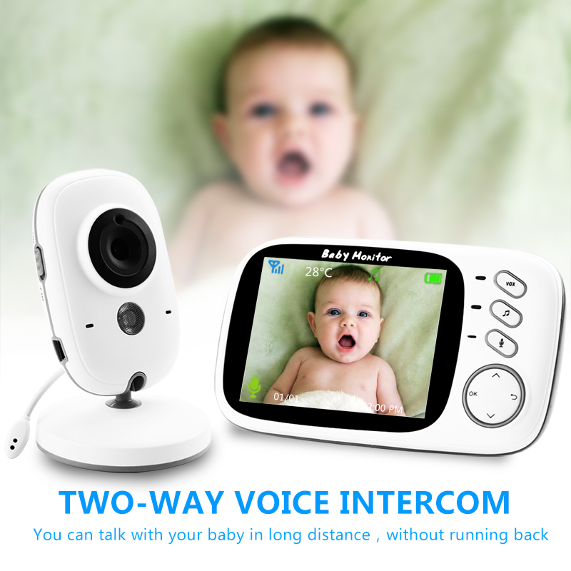 VB603 Wireless Video Color Baby Monitor with 3.2Inches LCD 2 Way Audio Talk Night Vision Surveillance Security Camera Babysitter 2 4ghz wireless night vision surveillance camera with 2 4 lcd handheld two way speaker receiver