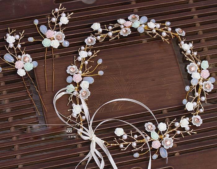 degë të arta Lule qeramike Lidhje flokësh me shirita kostum Dasma - Bizhuteri të modës - Foto 3