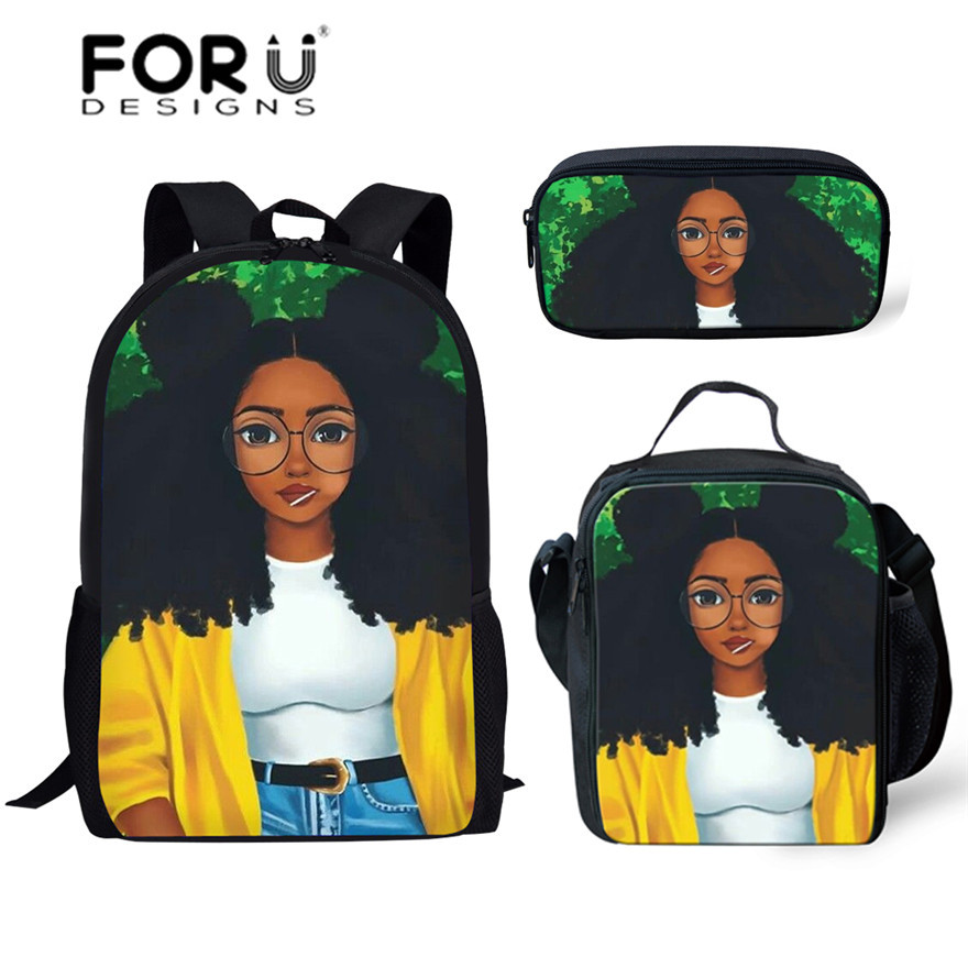FORUDESIGNS Children Primary School Bags For Teenagers Black Art African Girl Printing Book Bags Kids 3pcs/set Schoolbag Satchel