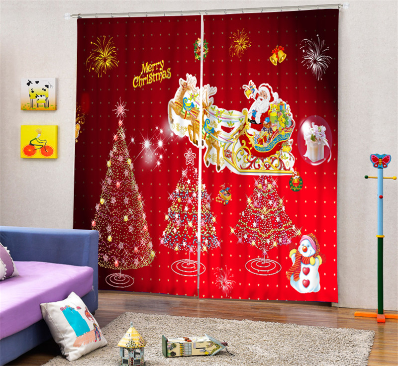 Christmas part Blackout Curtains For Living room Bedding room Decor Tapestry Wall Carpet Drapes Cotinas