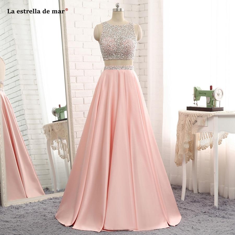 La estrella de mar vestido formatura 2019 new Scoop neck crystal taffeta A Line peach 2 piece   prom     dresses   long plus gala   dress