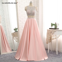 La estrella de mar vestido formatura 2019 new Scoop neck crystal taffeta A Line peach 2 piece prom dresses long plus gala dress
