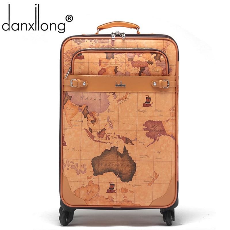 danxilong men retro PU map  luggage bag women Retro travel suitcase bags universal wheels trolley rolling Mute 16 18 20 22 24