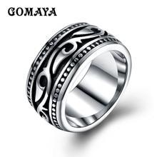 цена на GOMAYA Men's Titanium Stainless Steel Vintage Geomeric Ring for Men Women Silver Color Bague