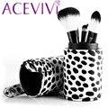 Acevivi lovely vaca diseño de maquillaje cepillos 8 unids contorno rubor sombra de ojos de la ceja cosmética fundación brush set con caja portátil $ k