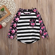 2016 New Autumn Family Clothes Mother Daughter Match Long Sleeve Floral Pocket Cotton T-Shirt Womens Kids Girls Top Blouse