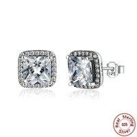 925 Sterling Silver Classic Style Diamond Stud Earrings Silver Long Earrings For Women Girls Fashion Earring
