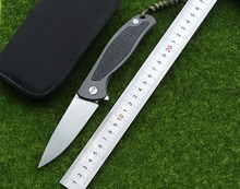 Free shipping F95 ti + high quality carbon fiber treatment D2 forged blade knife folding knife EDC camping hunting knife