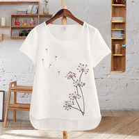 2017 Summer Loose Large Size T Shirt Women White Cotton Embroidered Flowers Half Sleeve Short Sleeved