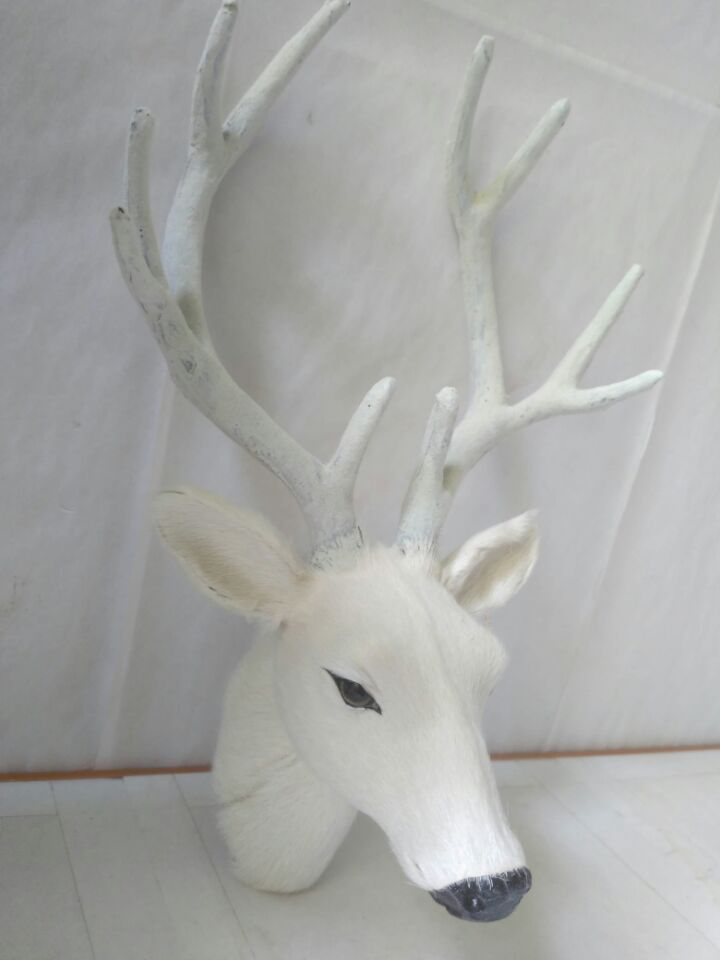 white simulation deer head model plastic&fur sika deer head toy wall pendantgift about 28x17cm 25x45cm simulation dove model toy plastic foam