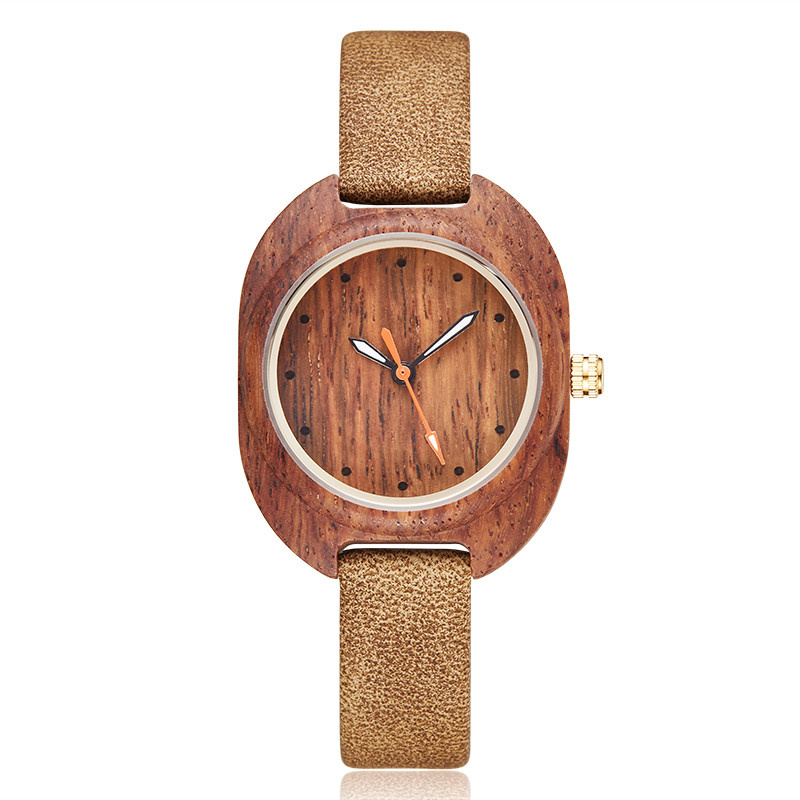 Fashion Simple Women Wood Watch Leather Ladies Bracelet Watch Women Wooden Small Wrist Watches Girl Clock Relogio Masculino