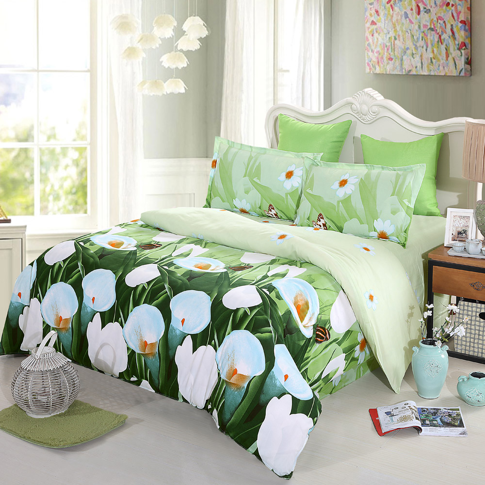 4pcs 3d printed bedding set bedclothes housse de couette for Housse de duvet