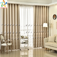 New Fashion Flax Curtains For Living Room High Quality Jacquard Blackout Ready Made With
